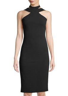 bebe High-Neck Crepe Midi Dress