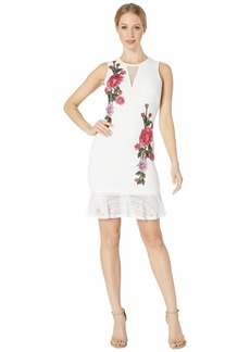 bebe Knit Sheath Rose Applique Dress