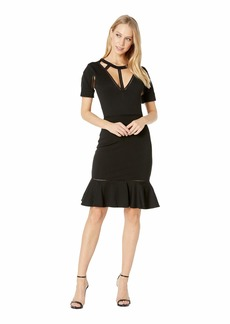 bebe Lattice Detail Flare Dress