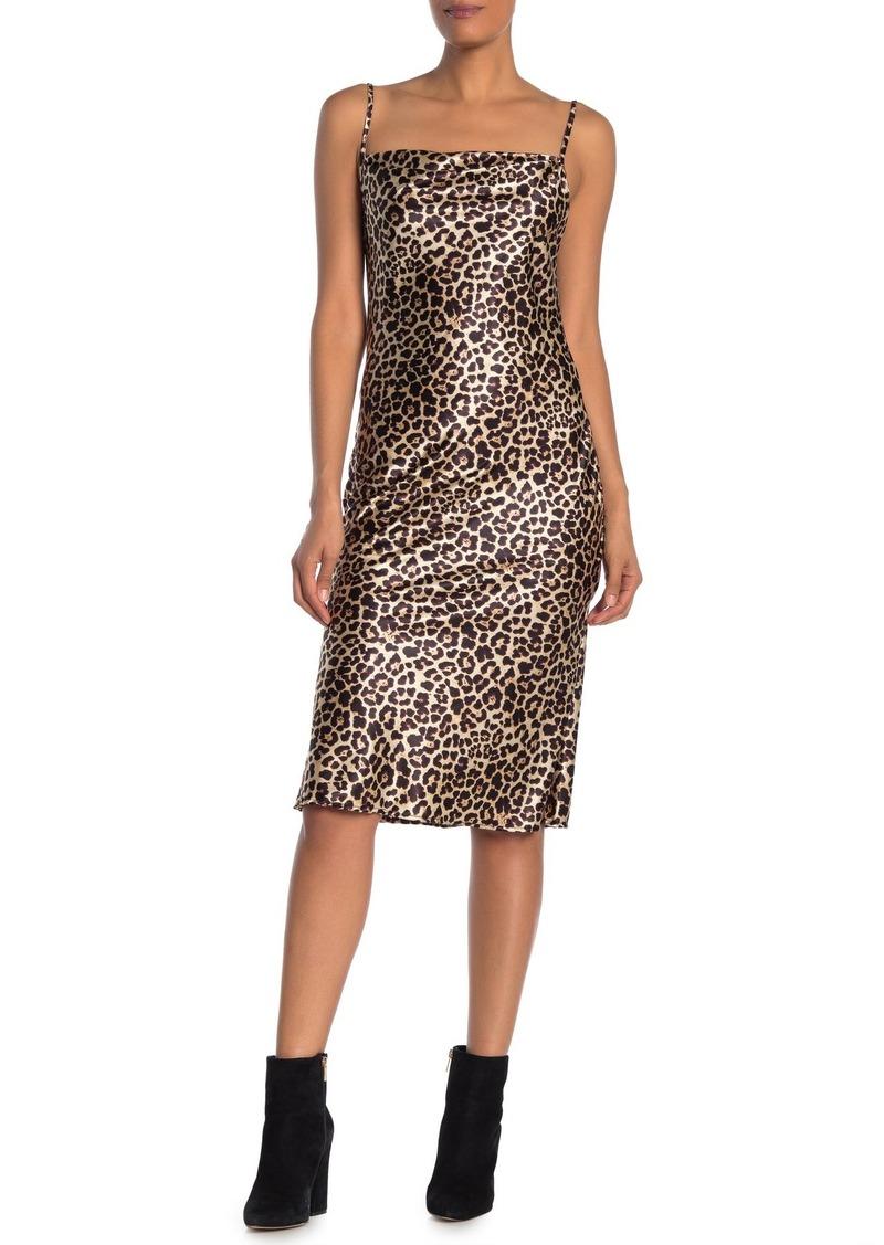 bebe Leopard Print Cowl Neck Satin Slip Dress