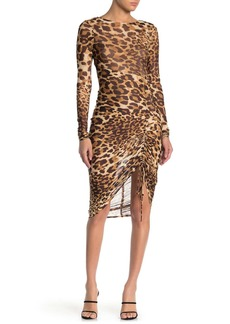 bebe Leopard Print Mesh Long Sleeve Dress
