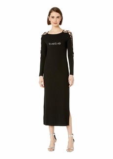bebe Logo Lace-Up Sleeve Midi Dress