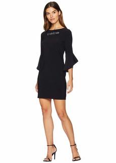 bebe Logo Ruffle Sleeve Short Dress