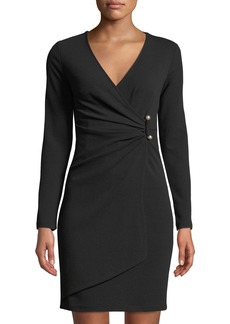 bebe Long-Sleeve Crepe Faux-Wrap Dress