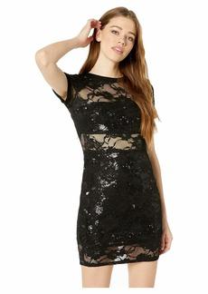 bebe Long Sleeve Lace Tee Dress