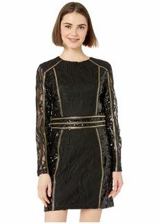 bebe Mesh Embellished Mini Dress