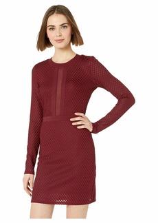 bebe Mesh Inset Blocked Mini Dress