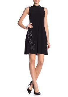 bebe Mock Neck Star Heatseal Dress
