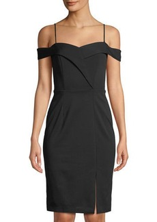 bebe Off-Shoulder Crepe Cocktail Dress