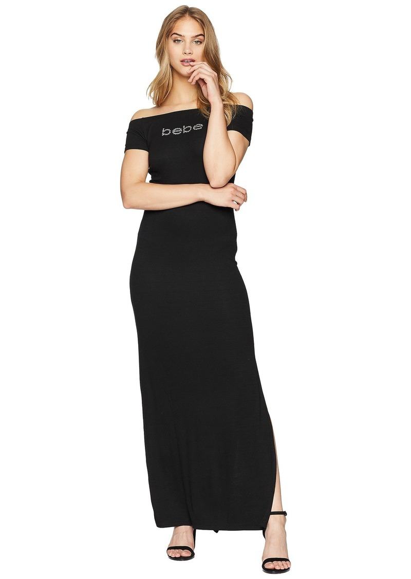 a770a1862e8 bebe Off Shoulder Logo Maxi Dress