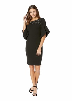 bebe Off Shoulder Pearl Bell Sleeve Dress