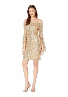 bebe Off Shoulder Sequin Dress w/ Bell Sleeves