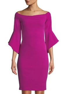 bebe Off-The-Shoulder Bell-Sleeve Sheath Dress