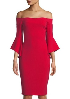 bebe Off-The-Shoulder Bell-Sleeve Sheath Dress