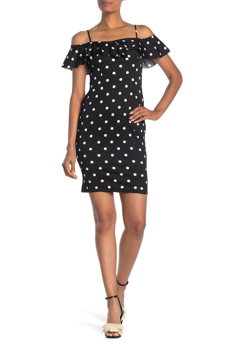 bebe Off-The-Shoulder Ruffle Bodycon Dress