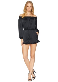 bebe Off the Shoulder Ruffle Romper