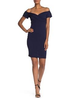 bebe Off-The-Shoulder Scuba Midi Dress
