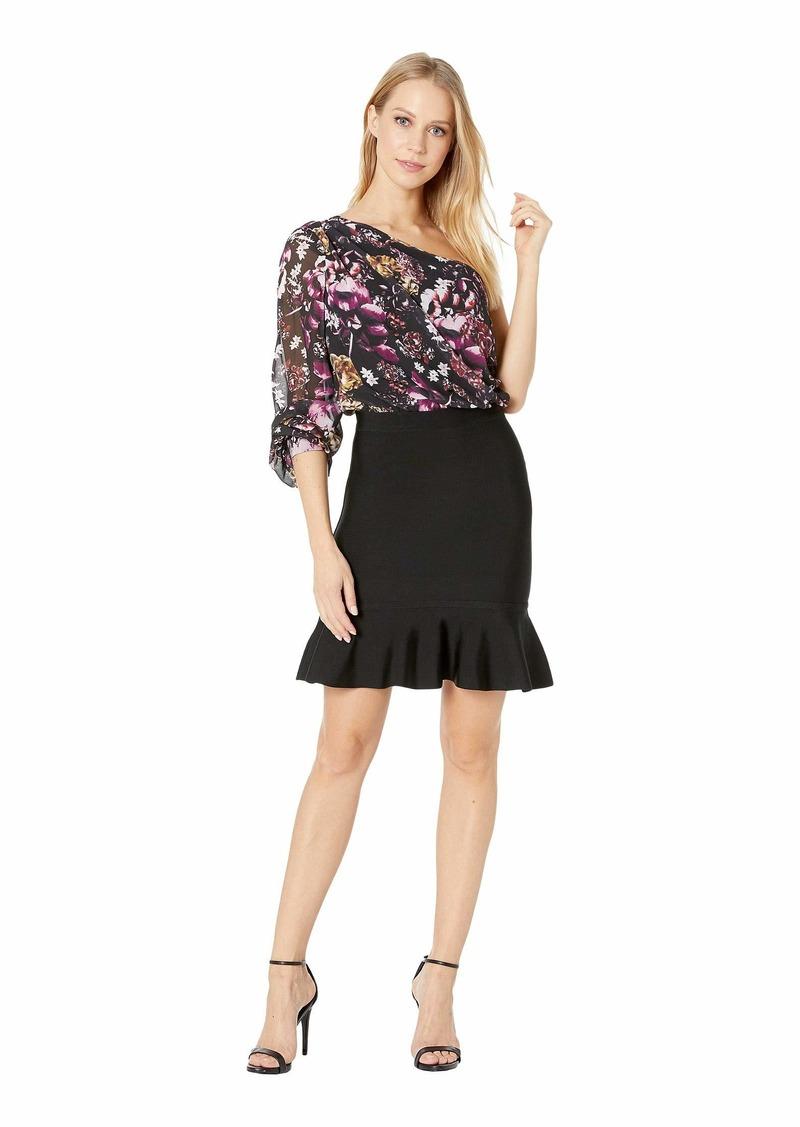 a407860214 bebe Printed One Shoulder Bandage Dress | Dresses