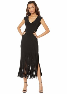bebe Raw Fringe Hem Dress