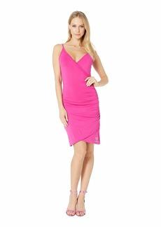bebe Ruched Wrap Rhinestone Strap Dress