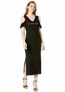 bebe Ruffle Cold Shoulder Maxi Dress