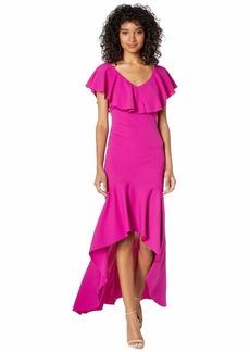 bebe Ruffle Shoulder High-Low Maxi Dress