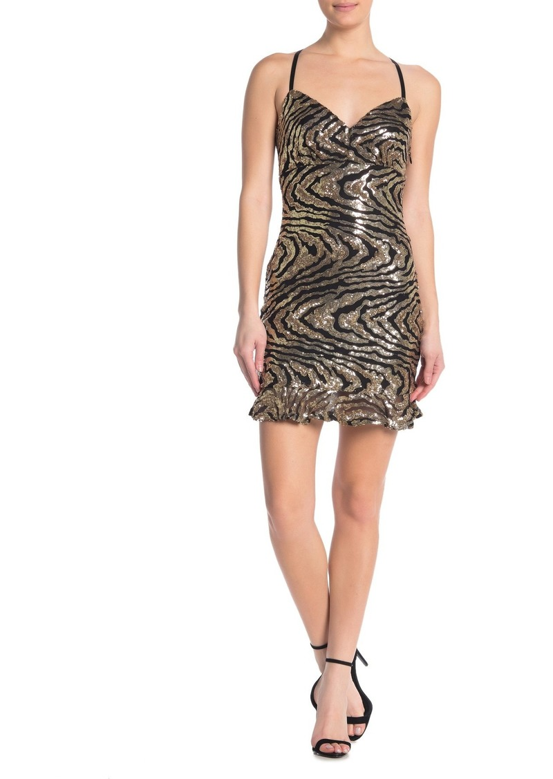 bebe Sequin Flounce Hem Mini V-Neck Dress