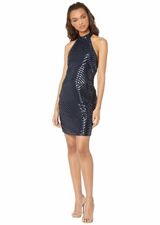 bebe Sequin High Neck Halter Dress