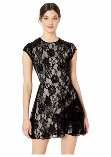 bebe Sleeveless Lace Overlay Dress
