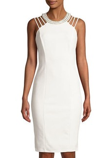 bebe Studded-Collar Strappy Sheath Cocktail Dress
