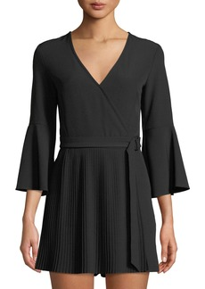 bebe V-Neck Bell-Sleeve Crepe Pleated Romper
