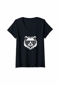 Womens bebe Bear Face with Sunglasses V-Neck T-Shirt