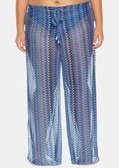 Becca Etc Plus Size Pier Side Stripe Crochet Cover-Up Pants Women's Swimsuit