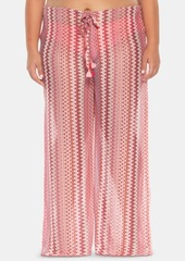 Becca Etc Plus Size Pier Side Stripe Crochet Cover-Up Pants Women's Swimsuit