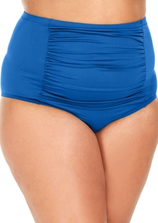 Becca Etc Plus Size Solid Color Code Shirred Front High-Waist Bottoms Women's Swimsuit