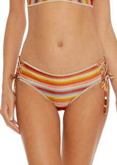 Becca Horizon Metallic Stripe Lace-Up Hipster Bikini Bottoms