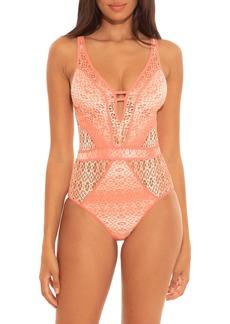 Becca Peaches & Cream Plunge One-Piece Swimsuit