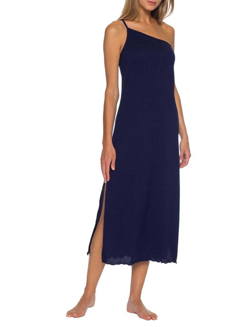 Becca Shoreline Ribbed One-Shoulder Cover-Up Dress