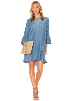 Bella Dahl Blanket Stitched Bell Sleeve Dress in Blue. - size L (also in M,S,XS)