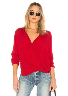 Bella Dahl Drape Front Blouse in Red. - size S (also in L,XS)