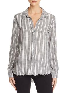Bella Dahl Frayed-Hem Striped Shirt