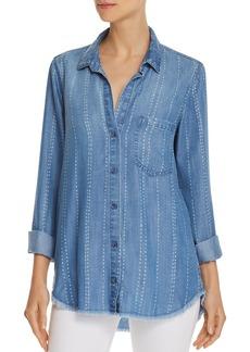 Bella Dahl Frayed Striped Chambray Shirt