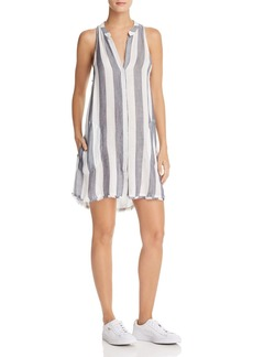 Bella Dahl Frayed Striped Shirt Dress