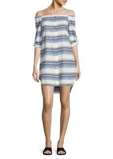 Bella Dahl Off-the-Shoulder Striped Shirt Dress