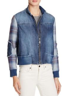 Bella Dahl Plaid Sleeved Denim Bomber Jacket - 100% Exclusive