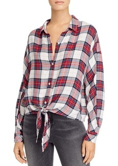 Bella Dahl Plaid Tie-Front Dolman-Sleeve Shirt - 100% Exclusive