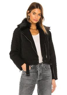 Bella Dahl Puffer Moto Faux Fur Collar Jacket