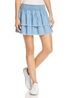 Bella Dahl Smocked & Fringed Tiered Skirt