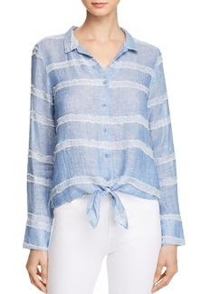 Bella Dahl Tie-Front Textured Stripe Shirt