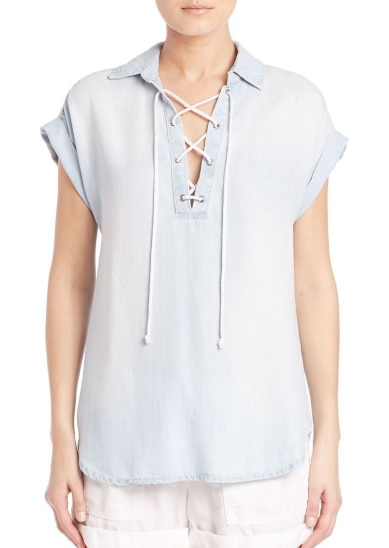 Bella Dahl Washed Lace-Up Top